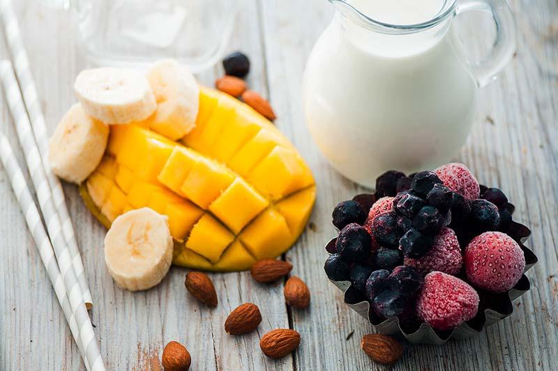 mango berries milk