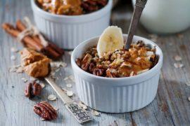 maple pecan peanut butter banana overnight oats