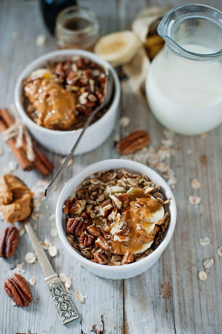 maple pecan peanut butter banana overnight oats