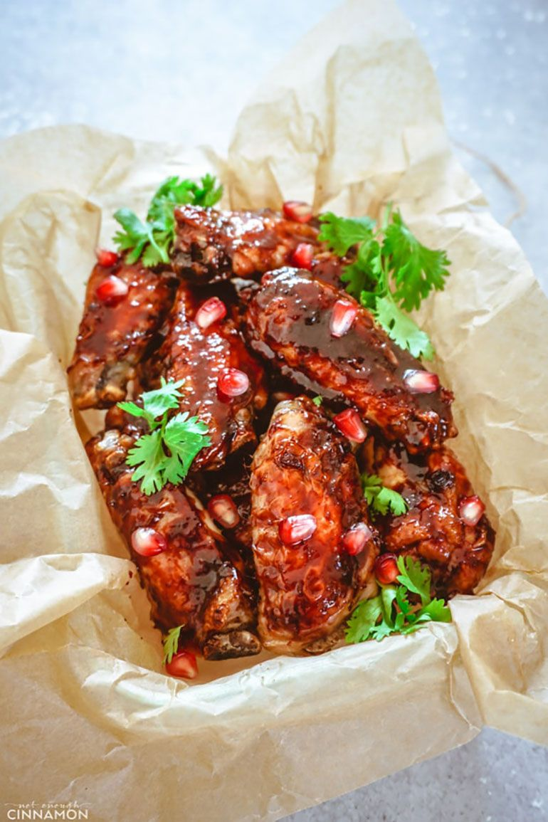 Baked Chicken Wings Recipe with Pomegranate Glaze