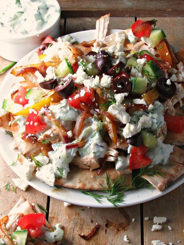 Greek Chicken Pita Nachos