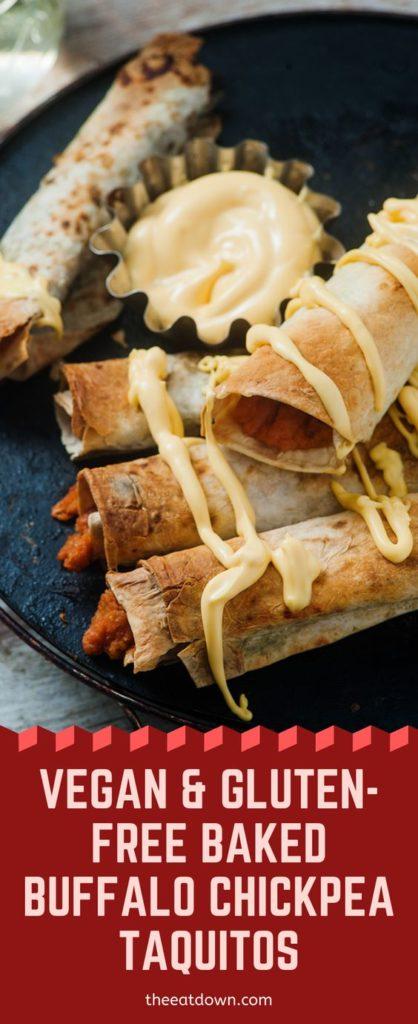 Vegan & Gluten-Free Baked Buffalo Chickpea Taquitos Pinterest