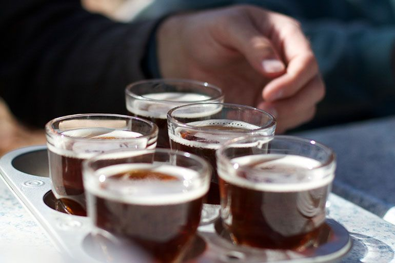 brown ale served on tray