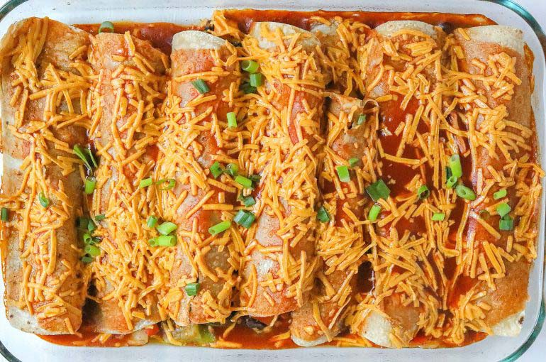 12 Sweet Potato Black Bean Enchiladas