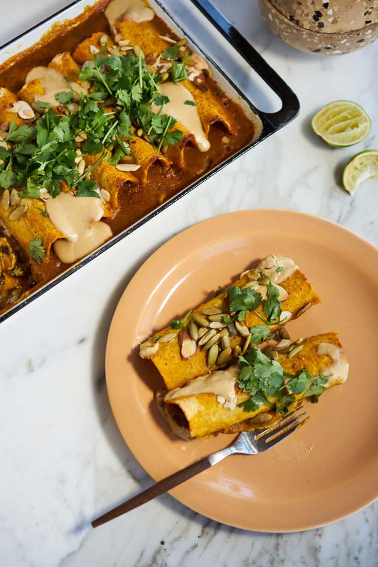 15 Quick Vegan Enchiladas with Sweet Potato Sauce