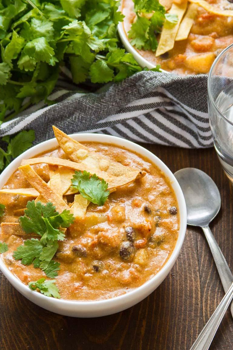 5 Cheesy Vegan Enchilada Soup
