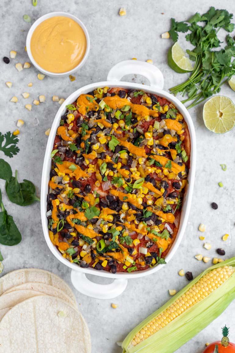 6 Vegan Enchilada Casserole with Homemade Sauce