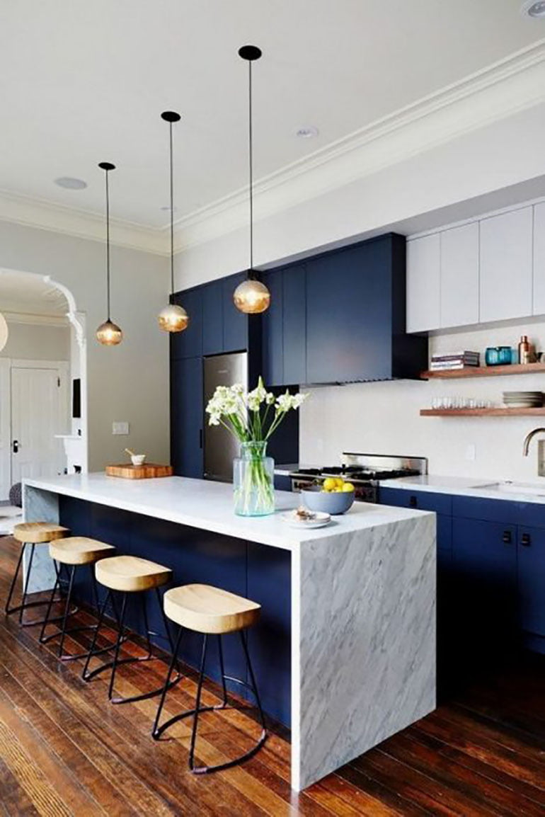 Dark Blue Style kitchen island
