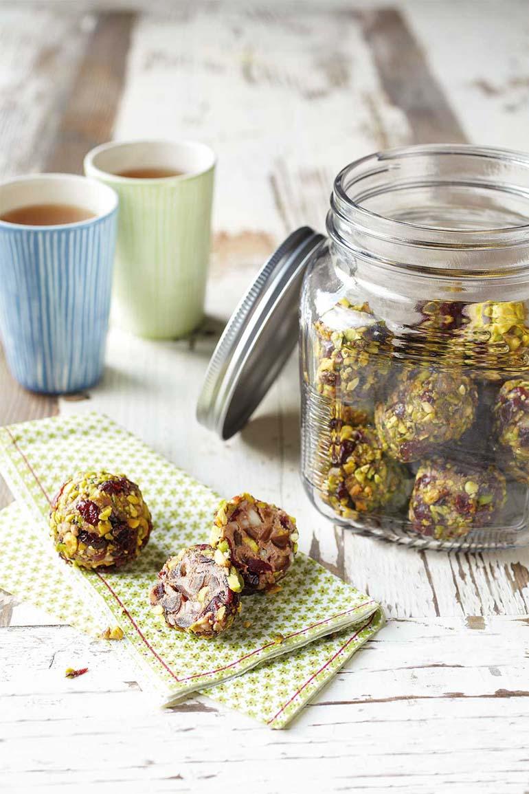 Easy pistachio & cranberry protein balls