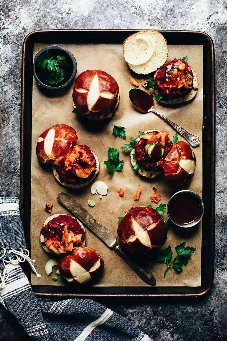 Kimchi BBQ Beet Sliders