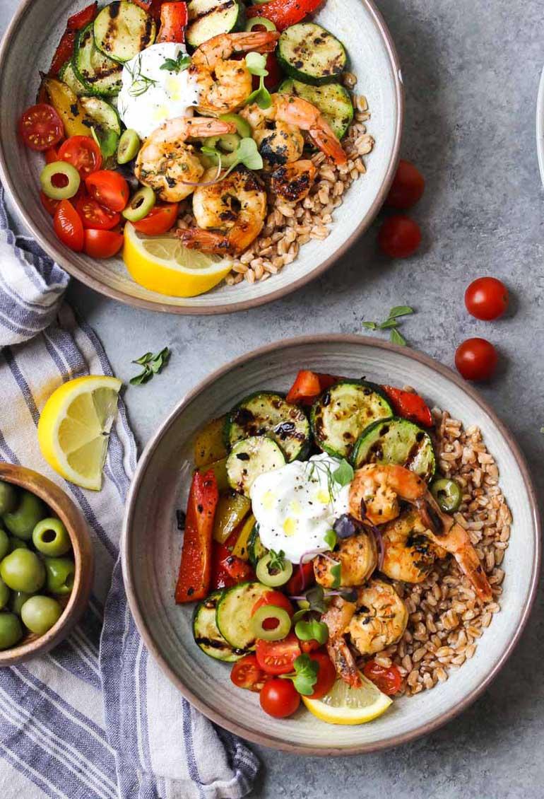Greek Shrimp & Farro Bowls