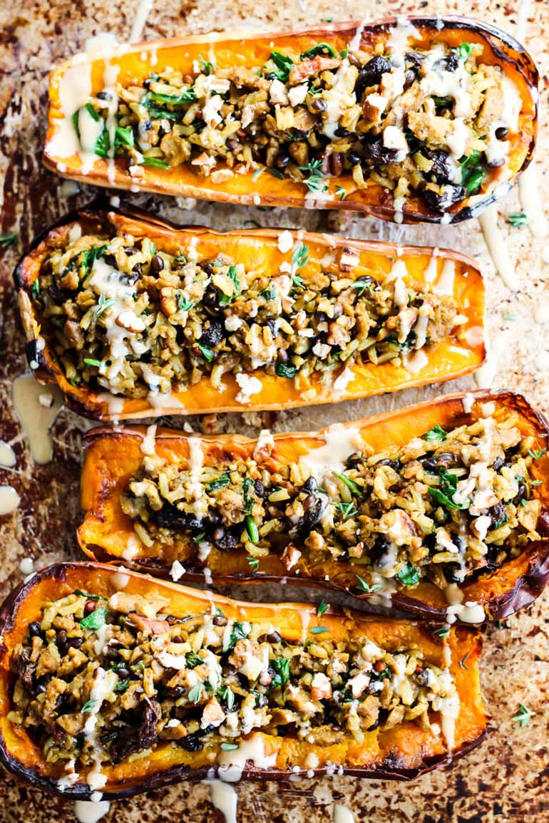 Savory Vegan Stuffed Butternut Squash