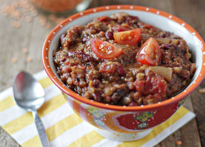 Vegetarian Chili with Pumpkin & Red Lentils