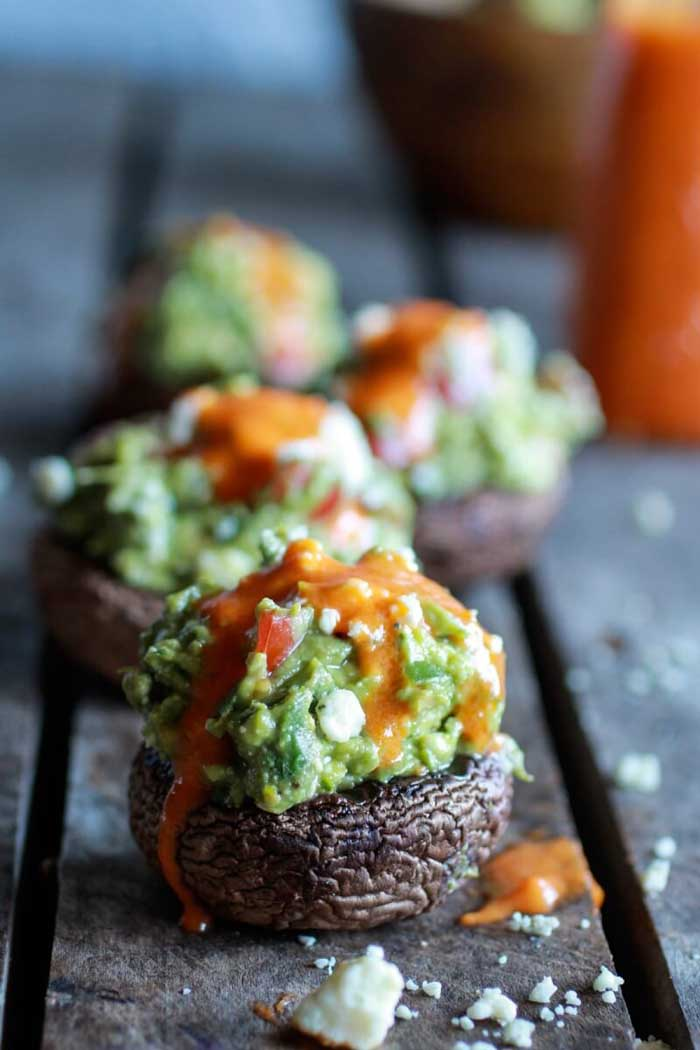 Blue Cheese Guacamole-Stuffed Mushrooms