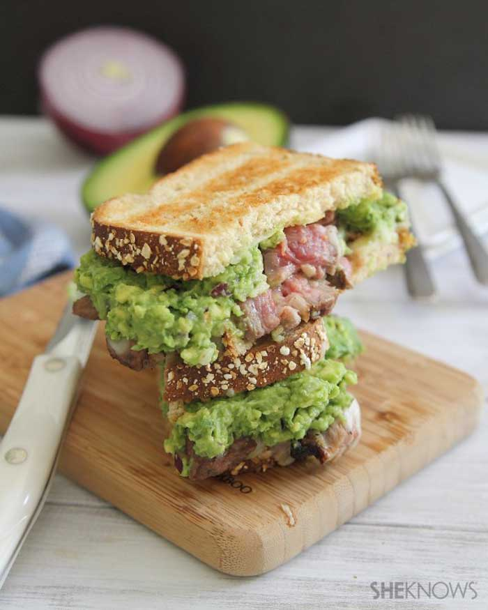 Cheesy Steak & Guacamole Sandwiches