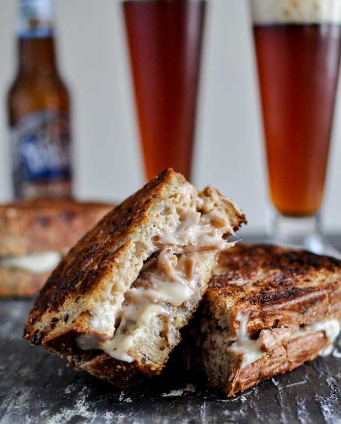 Crockpot Pulled Pork Cheese Grilled Cheese Sandwiches
