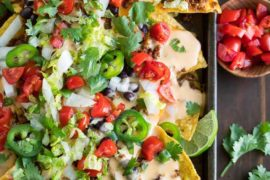 Easy Sheet Pan Nachos with Queso