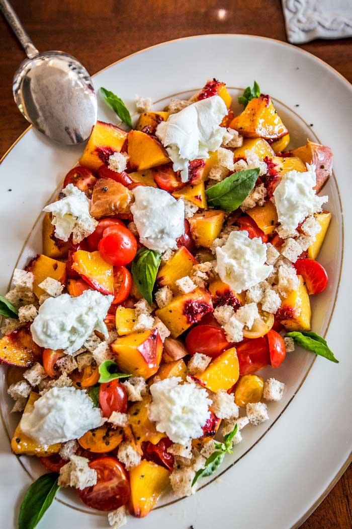 Peach, Cherry Tomato Panzanella