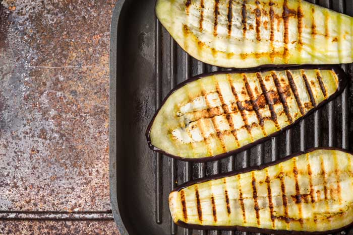 aubergine sear marks on grill