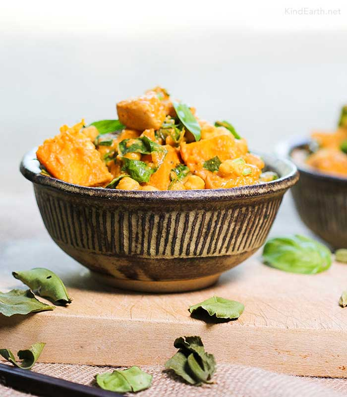 Thai Coconut Curry with Kaffir Lime Leaves and Butternut Squash