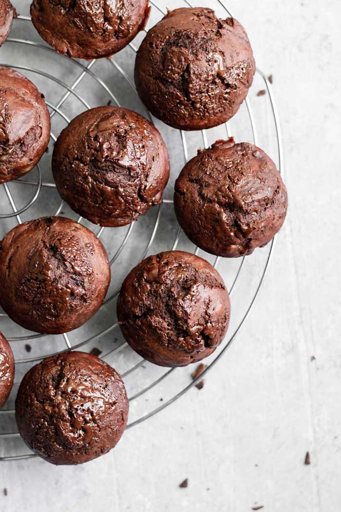 Vegan Double Chocolate Banana Muffins