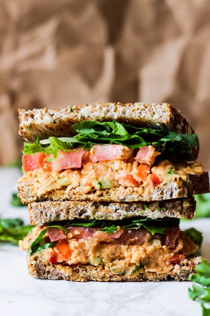 Vegan Buffalo Chickpea Salad Sandwich