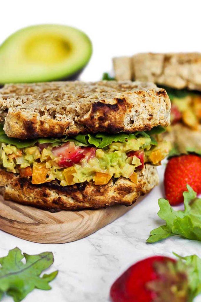 Gluten-Free Strawberry Avocado Chickpea Salad Sandwich