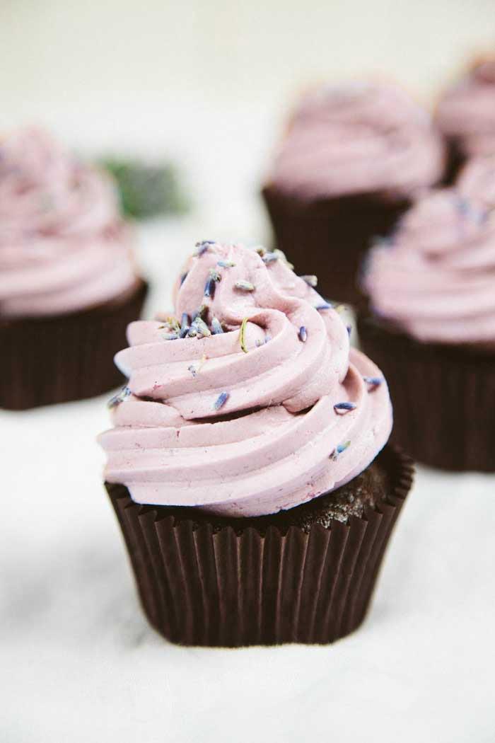 Vegan Gluten-Free Chocolate Lavender Cupcakes