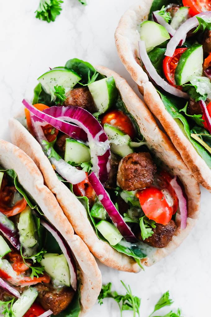 Vegan Beef Gyros with Tzatziki Sauce