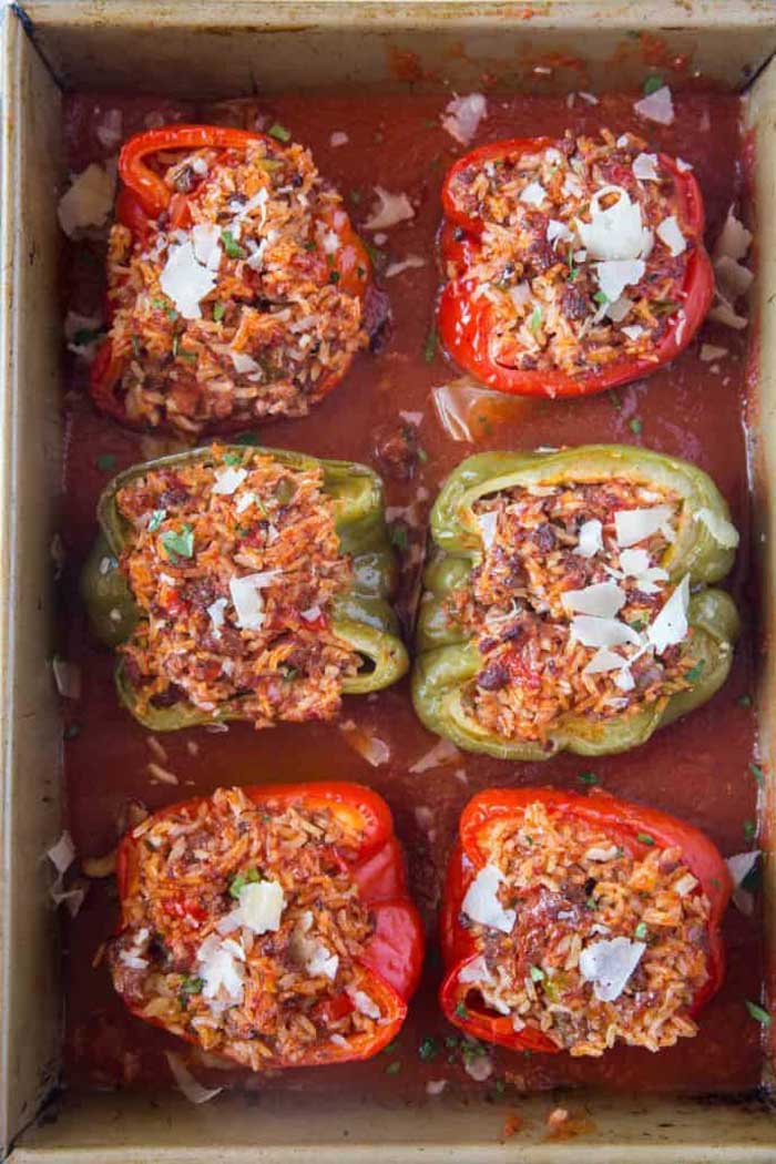 Beef & Parmesan Stuffed Peppers