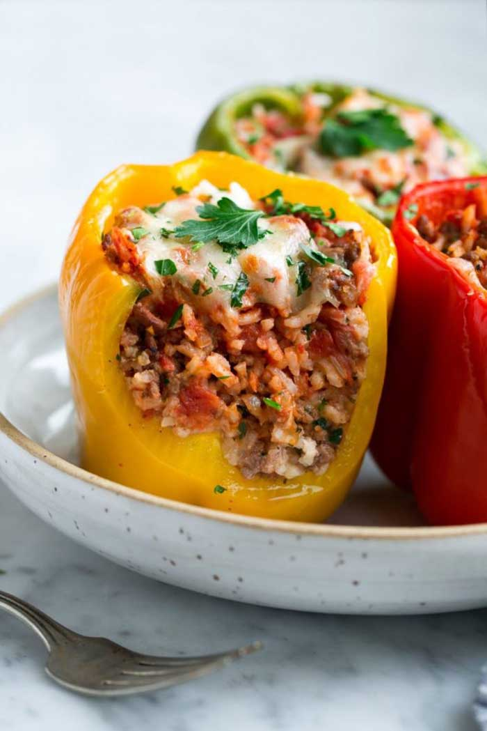Diced Tomato and Ground Beef Stuffed Peppers