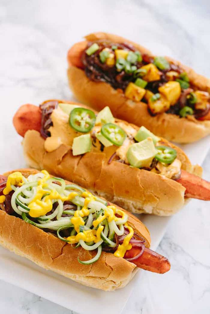 Vegan Carrot Dogs With Spiralized Toppings