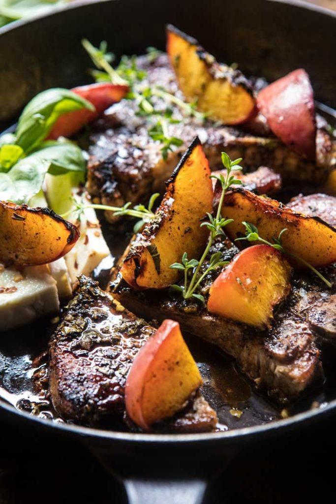 Skillet Balsamic Peach Pork Chops With Feta And Basil.