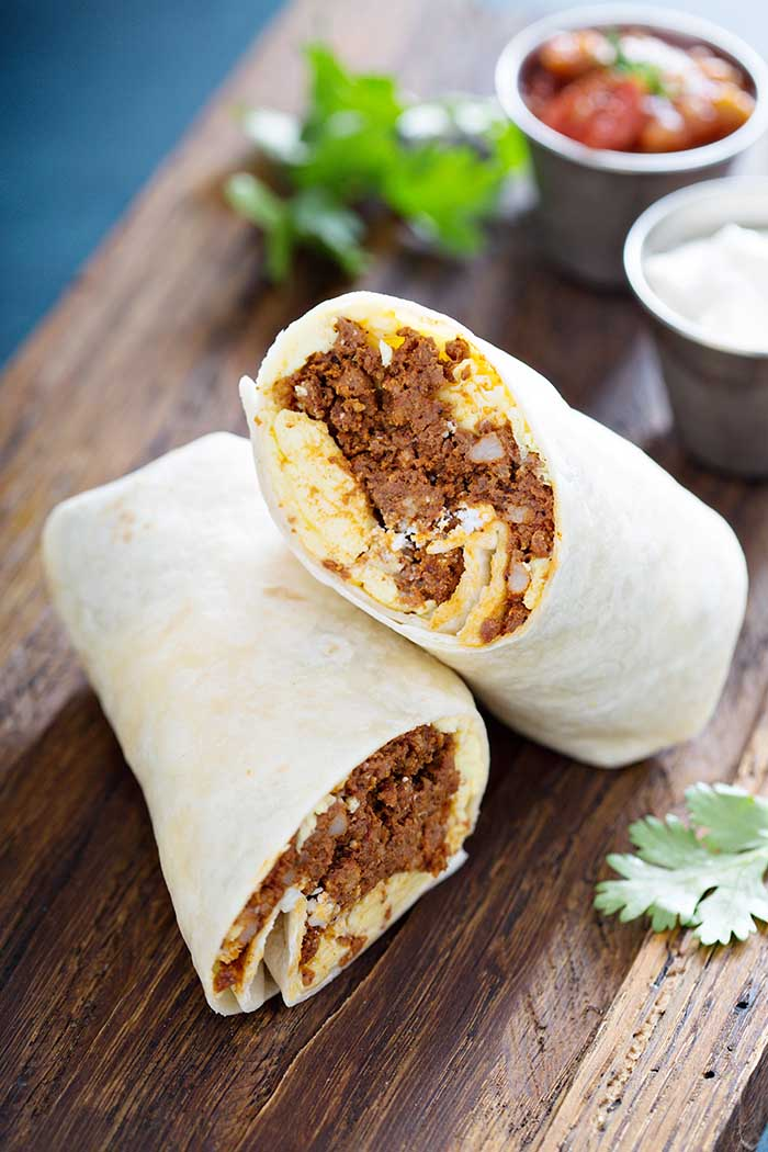Breakfast burrito with spicy pork and egg
