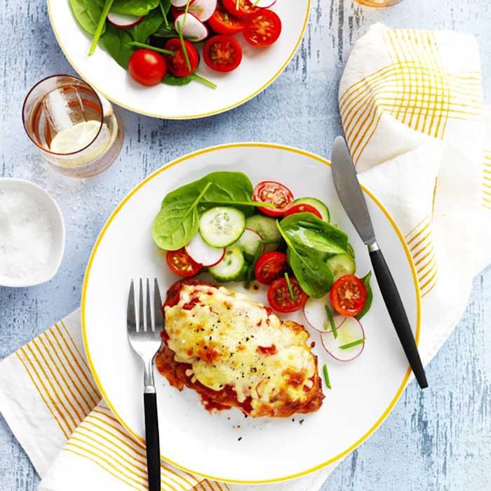 Chicken Parmigiana using Ham