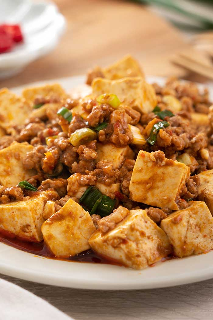 Chinese traditional stir-fried tofu with hot spicy sauce and pork