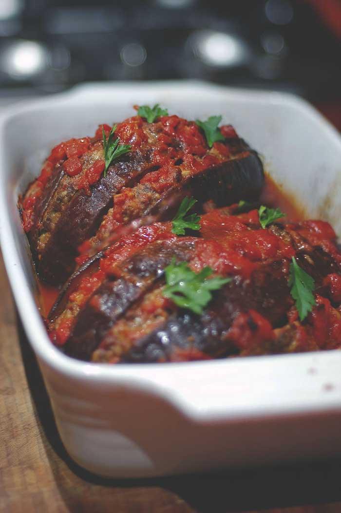 Dolmeh ye bademjan stuffed eggplant
