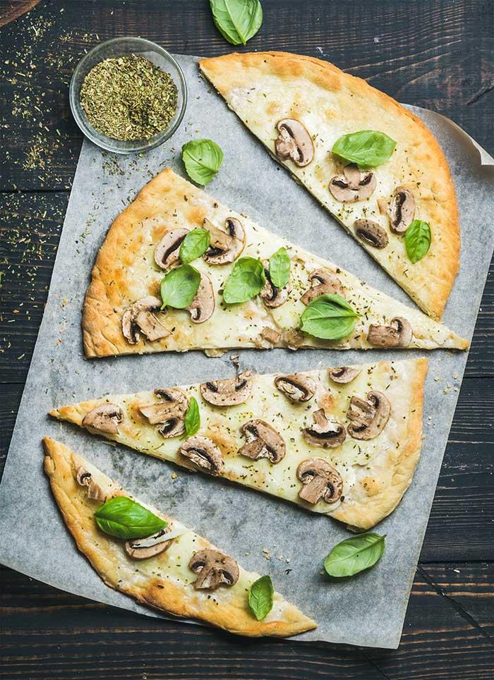 Homemade sliced mushroom pizza flatbread
