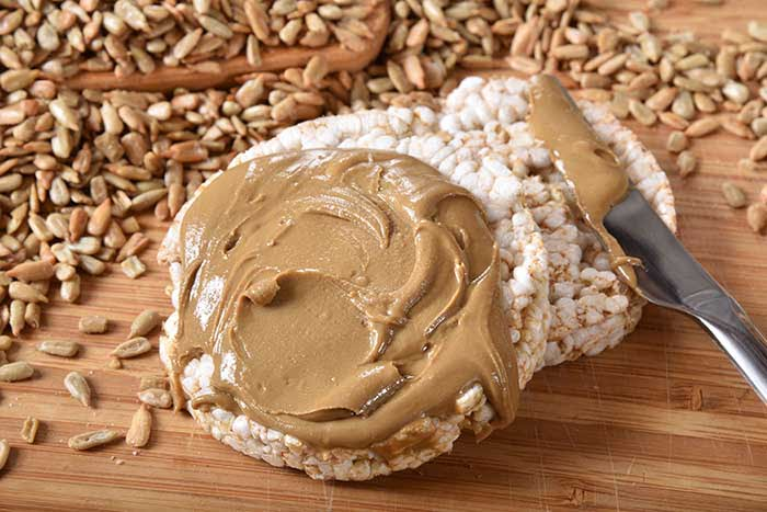 Organic brown rice cakes with healthy organic sunflower seed butter