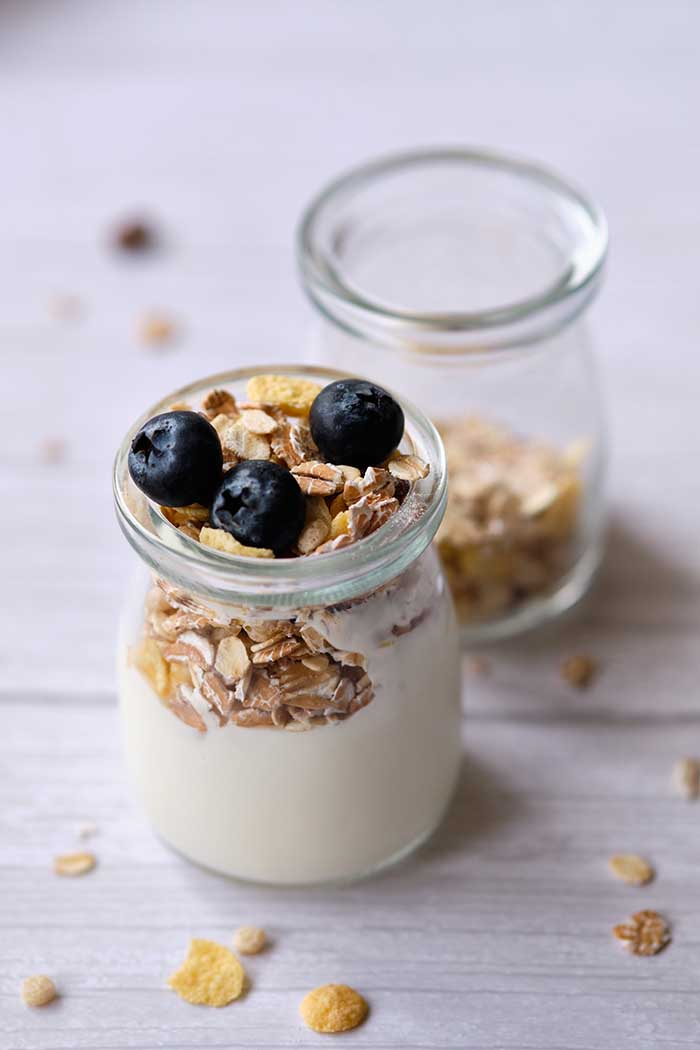 Overnight oats layered in glass jar