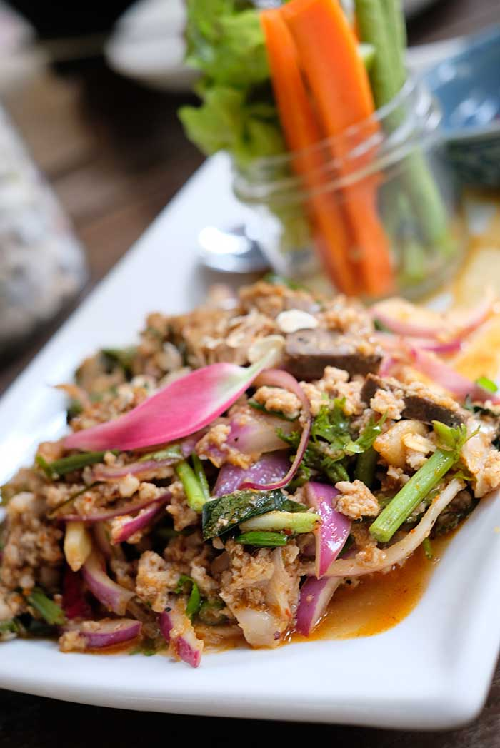 Spicy minced pork salad or Ground pork salad