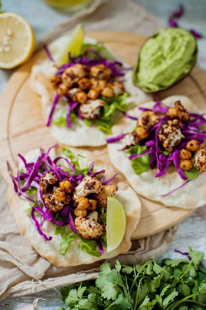 Tandoori Cauliflower Chickpea Tacos