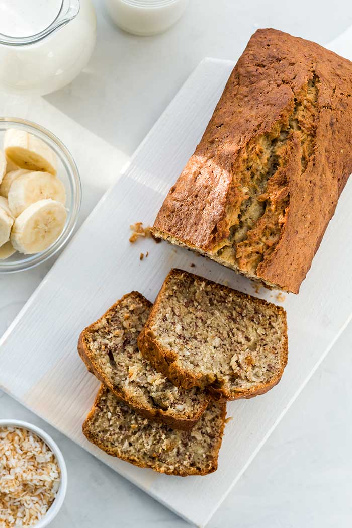 banana bread with coconut and milk