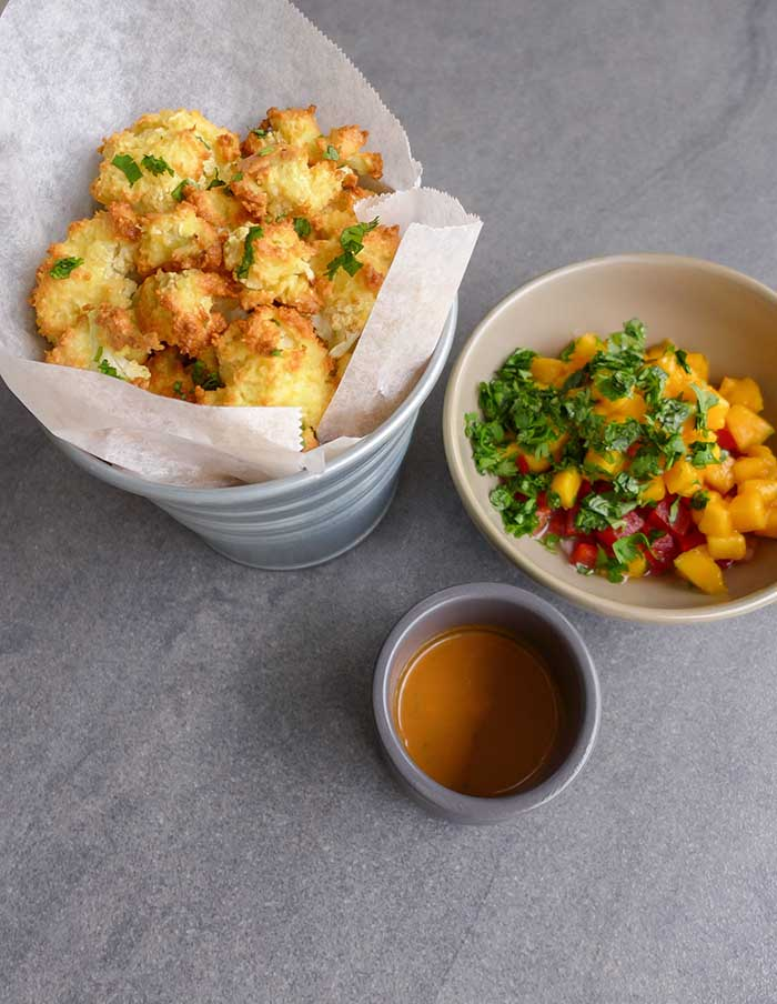 cauliflower wings roasted in bang bang sauce and panko breadcrumbs