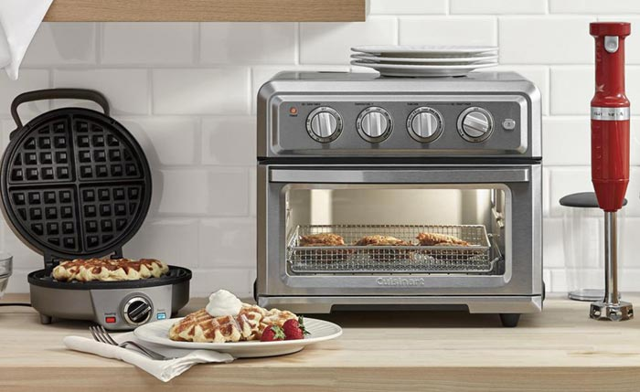 brushed silver cuisinart toaster convection oven on countertop surface