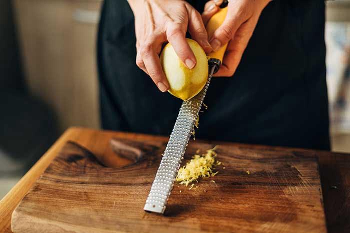 lemon zest and salt