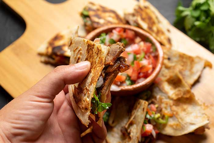 grilled steak mexican mulitas with fresh sauce cheese