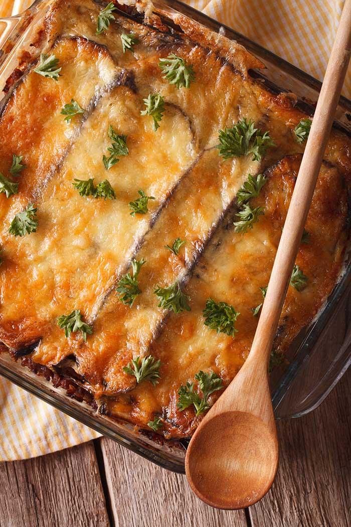 eggplant and lamb moussaka in baking dish