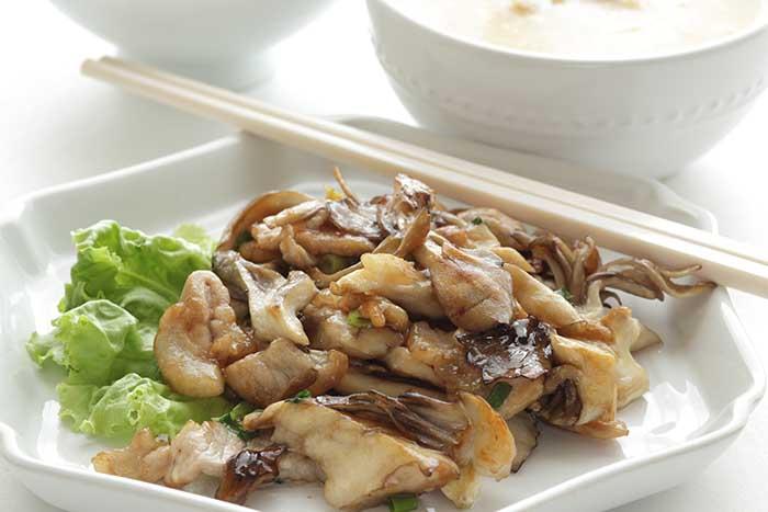 maitake mushroom and pork stir fried