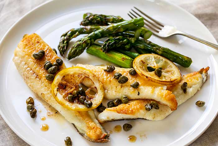 oven baked triggerfish capers lemon asparagus